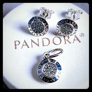 New Pandora Signature Charm Pendant & Earrings Set